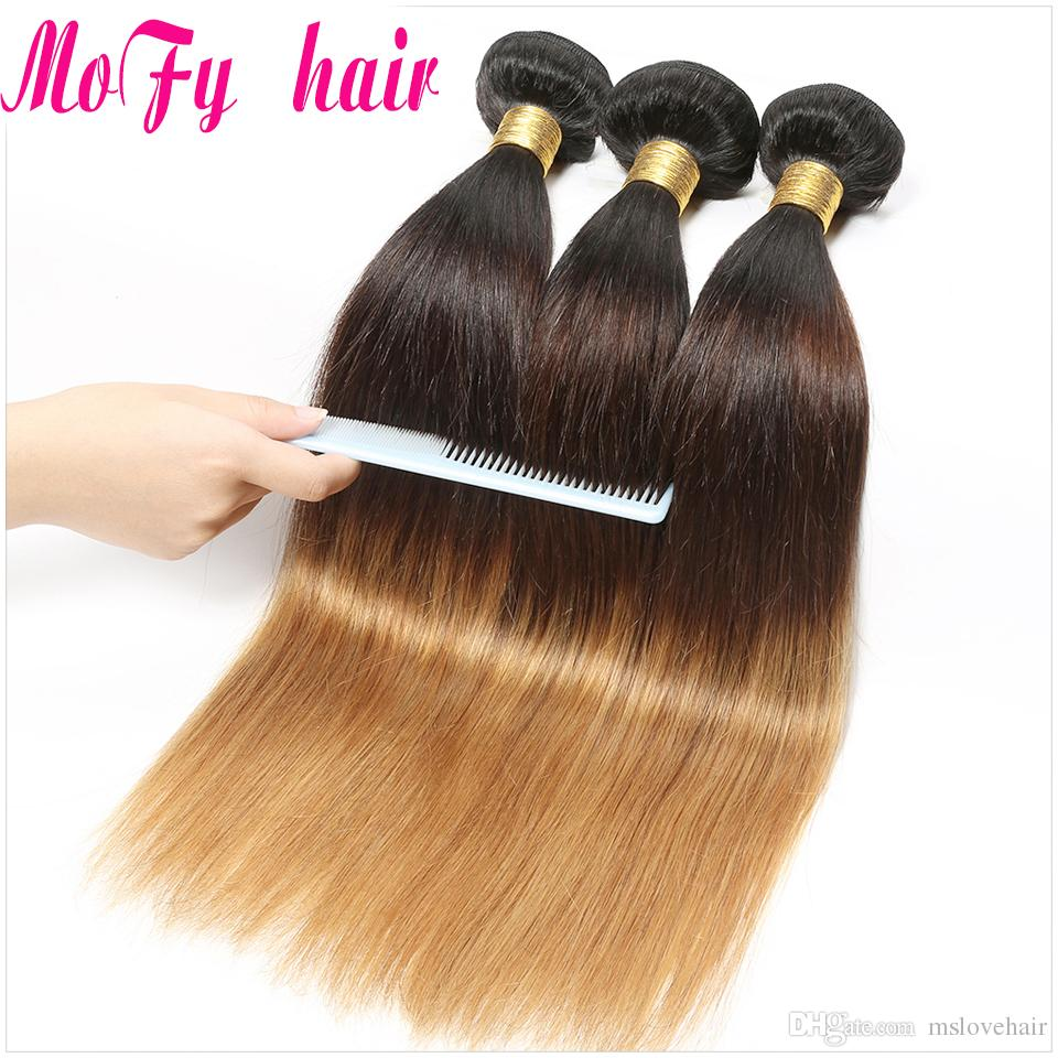 Ombre Brazilian Malaysian Indian Peruvian Straight Human Hair Weave Bundles T1B/4/27 Blonde Ombre Human Hair Bundles Remy Hair Weaving