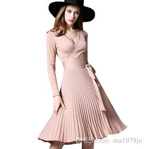 High Quality Elegant Winter Dress 2018 Office Dresses For Women