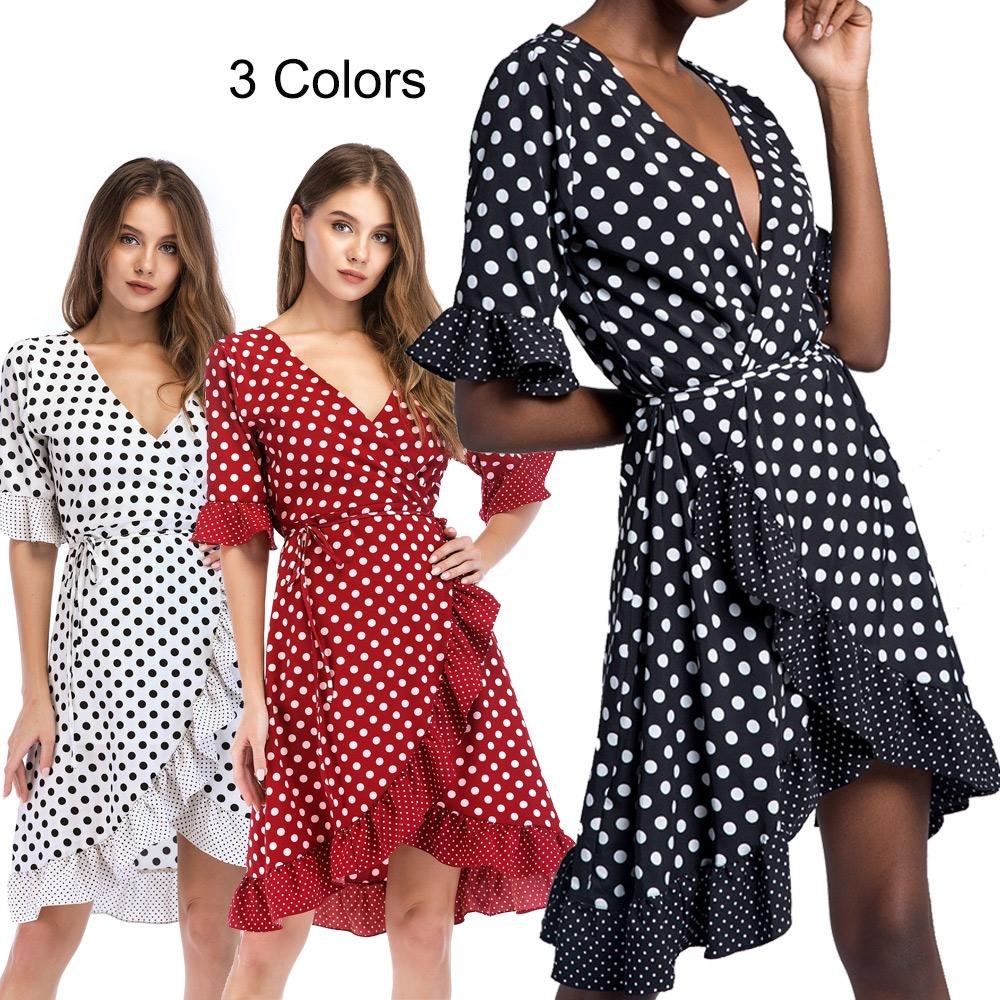834dd9e89188 Wrap Dress With Polka Dot Asymmetric Hem Flounce Sleeve Ruffle Trim Sexy  Deep V Neck Fashion Summer Dresses For Women Ladies White Red Black Black  Womens ...