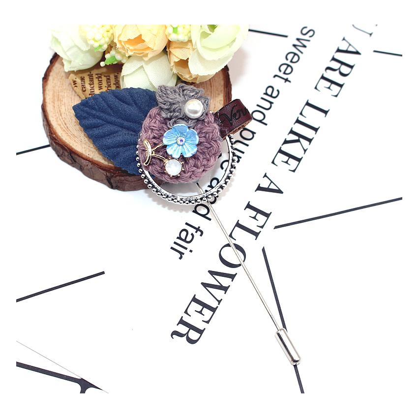 Fashion Women large crystal long pins Faux Wool Fabric Flower Brooch pins Handmade Costume Accessories Big Brooches for Ladies