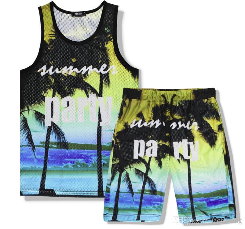 543dc137e Compre Férias De Verão Seaside Praia Colete E Shorts Set Havaí Moda Tank  Tops Shorts Soltos Para Homens E Mulheres Casal Roupas De Jackhuang, ...