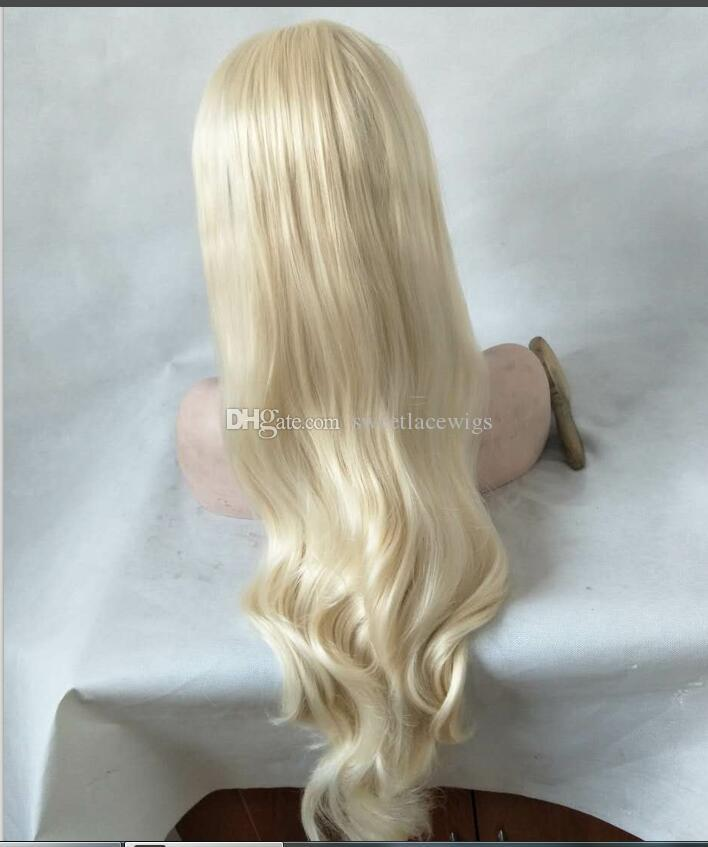 Middle Part Natural Long Body Wave Platinum Blonde High Temperature Fiber Synthetic Lace Front Wig For White Women