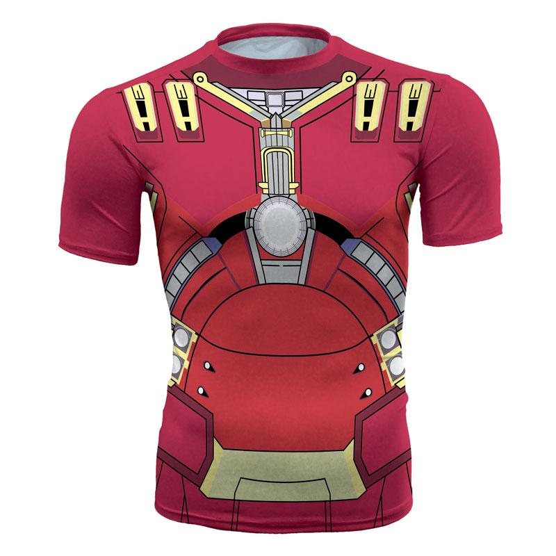 Men's fashion creativity t-shirt superman tights tee superhero Hulk buster sport short sleeves cycling fast dry basketball vest