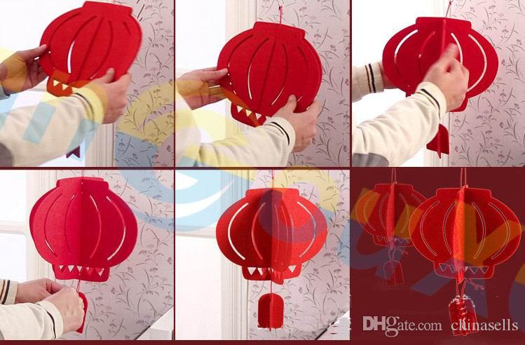 DIY Non-woven red Lantern pendant party favor Chinese New Year Spring festive ornaments hotel Home bar wedding Decoration Scene layout