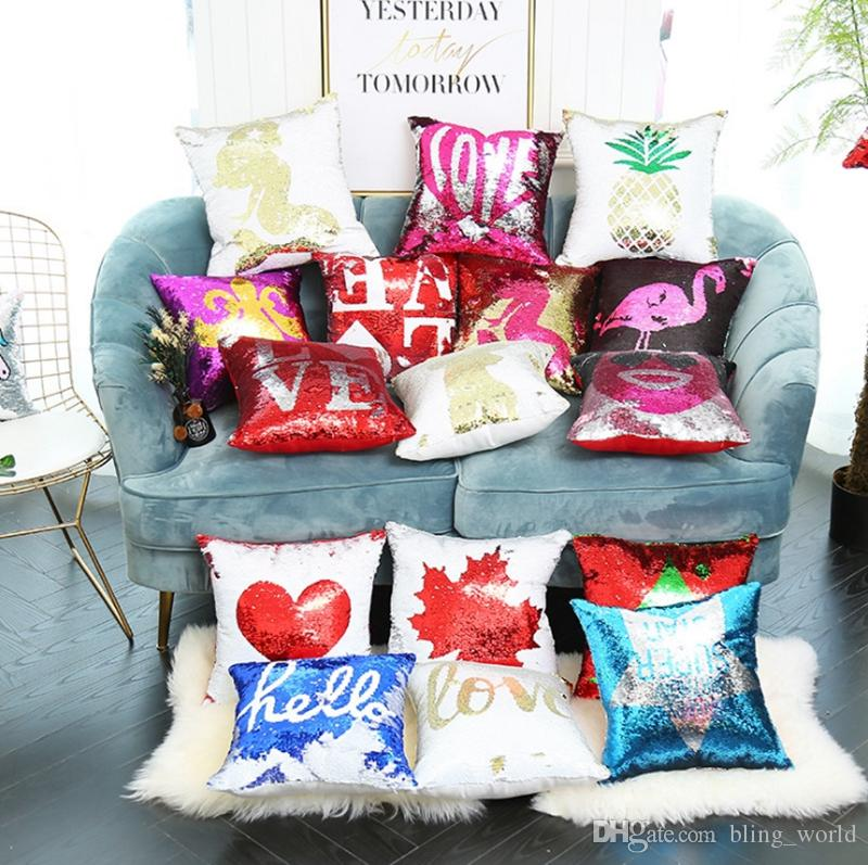 Mermaid Pillow Covers Diy Sequin Cushion Cover Embroidery Pattern