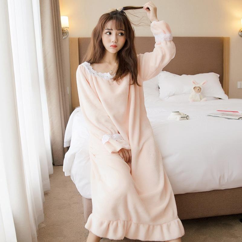 17eb2f3605 Lady Autumn Winter Flannel Princess Nightgowns Casual Homewear Warm Soft  Comfortable Sleep Dresses Ruffles Sleepwear Sleepshirts Red Dress Little  Black ...