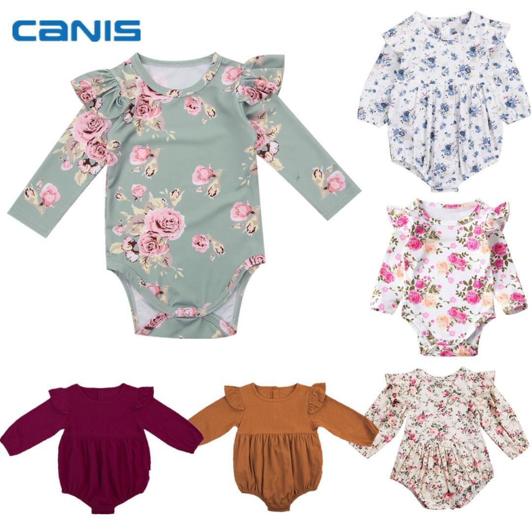 ba8c453ad549 2019 2018 Brand New Toddler Infant Newborn Baby Girls Kids Long Butterfly  Sleeve Romper Outfits Playsuit Jumpsuit Floral Clothes 0 3Y From Bradle