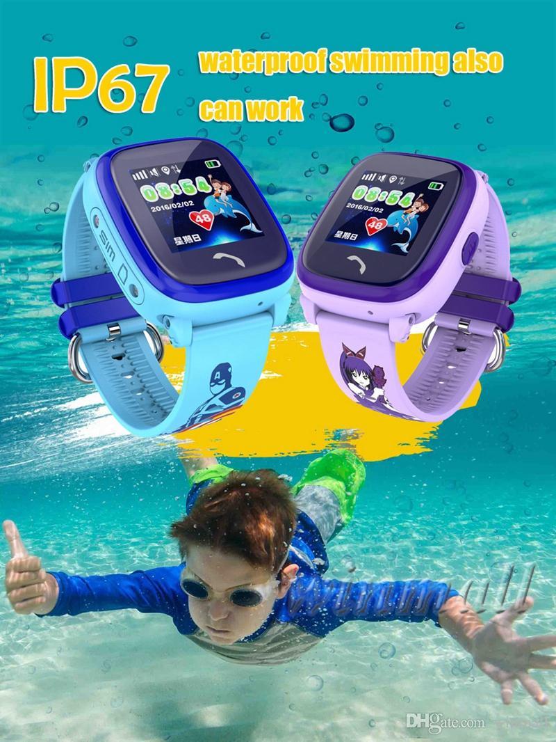 IP67 Waterproof DF25G GPS Miúdos espertos Watch Phone Swim Smartwatch SOS Localização dispositivo rastreador Safe Kids Anti-Lost Baby Monitor