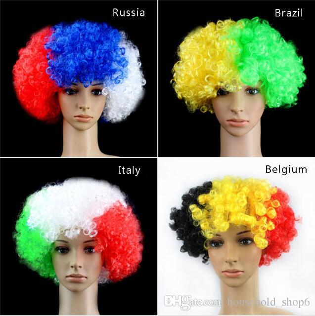 European Cup World national Flags Wigs Fan acclamazioni Party Explosion Hats Carnival Festival WIG puntelli all'ingrosso nave libera 2018