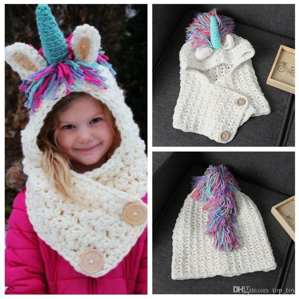 c4bac32c01c 2019 Kids Knitted Unicorn Cap Scarf 2 In 1 Unicorn Handmade Winter Hat Wrap  Unicorn Caps Cute Warm Children Knitted Scarves OOA4109 From Top toy
