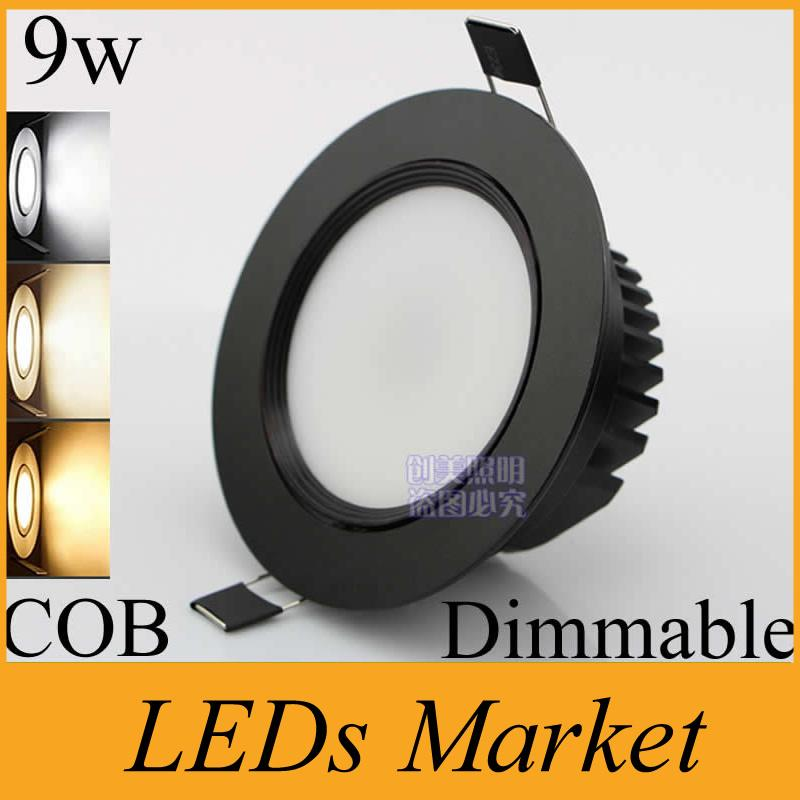 Black Shell COB Led Downlight 9w dimmable Led Ceiling lamp Light Bulb Recessed 110v 220v Warm Cool White + Driver 50000h