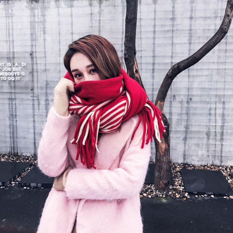 Winterfrauen Kaschmirschals Mode Quaste gestreift Patchwork verdicken warme Poncho Cape Wollschal