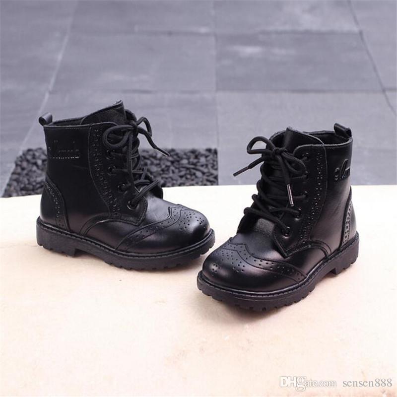 new style 90a39 74106 Qualität Kinder Stiefel Jungen Schnee Wasserdichte Schuhe Kinder Echtes  Leder Stiefel Jungen Martin Einzelne Stiefel Mädchen Warme Schuhe ...