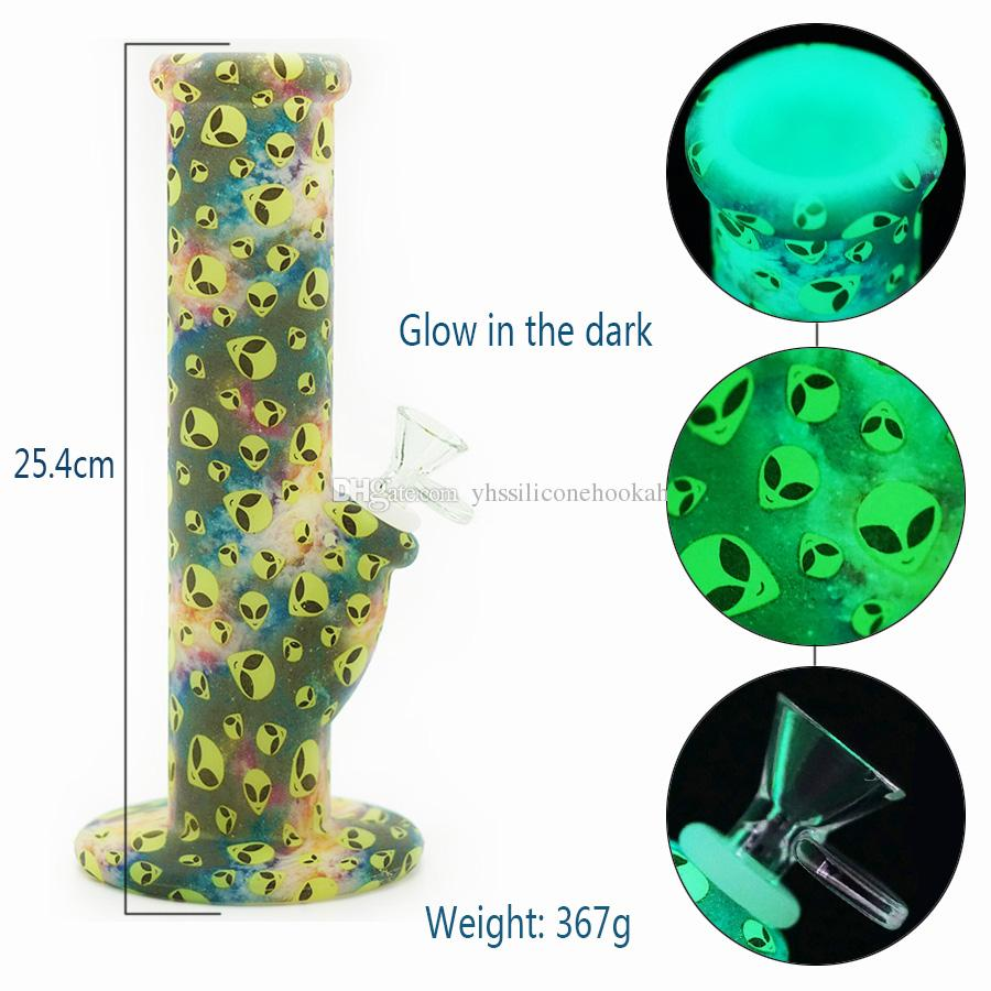 Glow in the dark Alien silicone straight bong oil rig Out of print customization Bongs Shisha Hookah Silicone Smoking Water Pipes Bongs