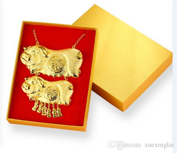 Tradictional Jewelry Classic Design High simulation Gold pig pendant necklace for women Bridal wedding gift