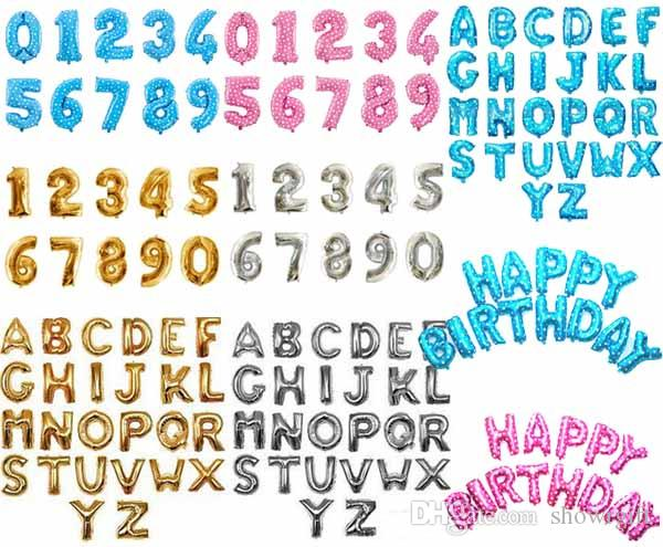 Alphabet Letter number foil balloons 16inch custom shaped Anniversary Party decorations birthday supplies Gold/ silver / Pink /blue color