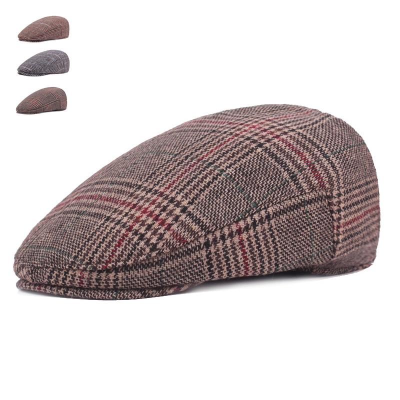 b5c67203df 2019 Brand Fashion Vintage Autumn Winter Hats For Men Women High Quality  Casual Cotton Women Beret Caps Adjustion Plaid Mens Flat Hat From Juemin