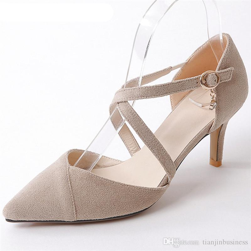 2018 Hot Sale Women Sandals Pumps Flock Pointed Toe Fashion Shoes Sweet  Pink Simple Buckle Party Wedding Shoes High Heels Shoes Black Sandals  Ladies Sandals ... 26c0e4c63727