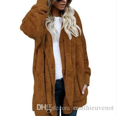 60ba2c88e LASPERAL New Year Spring Faux Fur Teddy Bear Coat Jacket Women ...