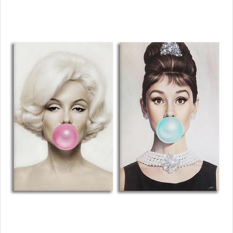 Großhandel Marilyn Monroe Audrey Hepburn Zitate Leinwand Malerei