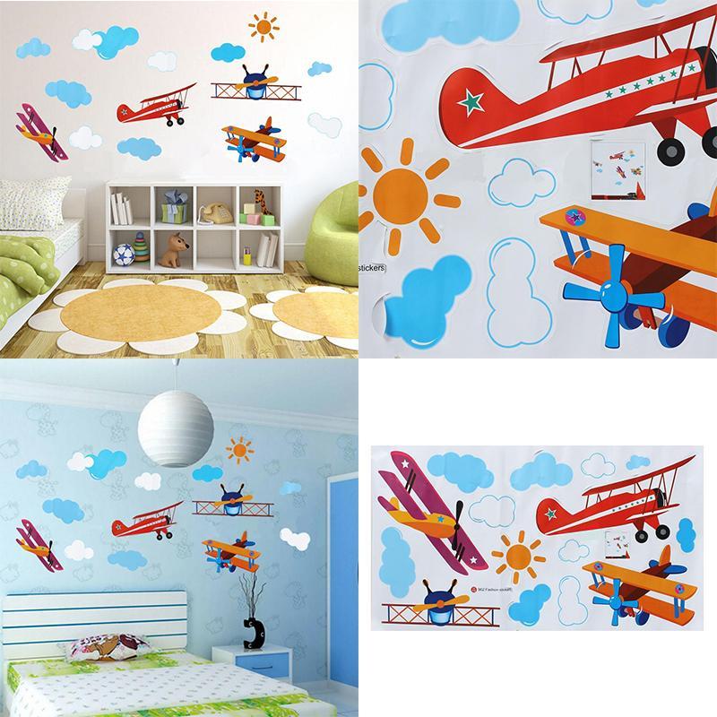 Kids Cartoon Wall Sticker home Decor Airplane Sun Cloud Blue Sky Home Decoration room Decals Wall Art Sticker wallpaper