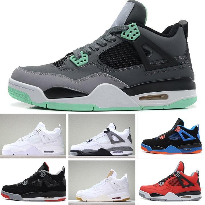 cheap for discount c60c4 1858c Acquista Nike Air Jordan Retro 4 Running Shoes Travis Houston Blue 4s  Designer Shoes Uomo Scarpe Pure Money Black Cat Cemento Bianco Bred Fire  Red Fear ...