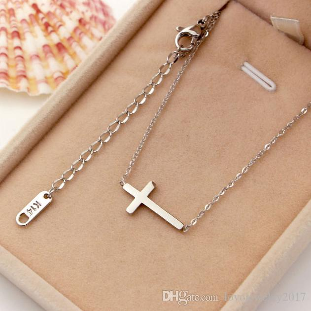 new style Titanium Steel Rose Gold Cross Pendant Necklaces for Women and men Silver Necklace with Christian cross Pendant fashion Jewelry