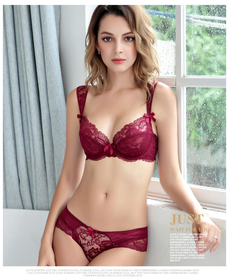 585bf5adf67d5 2019 Women Lady Sexy Bra Set Underwear Luxury Embroidery Sexy Lace Bra Cute  Transparent Ultra Thin Temptation With Panties
