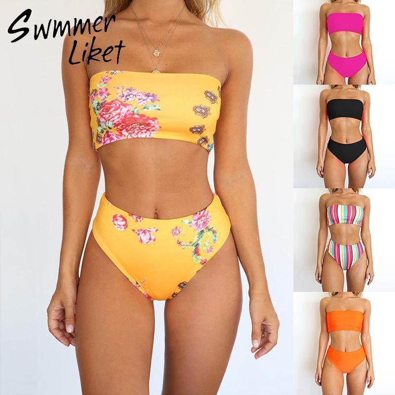 44a6275709c4 Bikini de cintura alta 2019 Traje de baño de corte alto Sólido tallas  grandes bañadores para mujer Traje de baño Bandeau Traje de dos piezas  brasileño ...