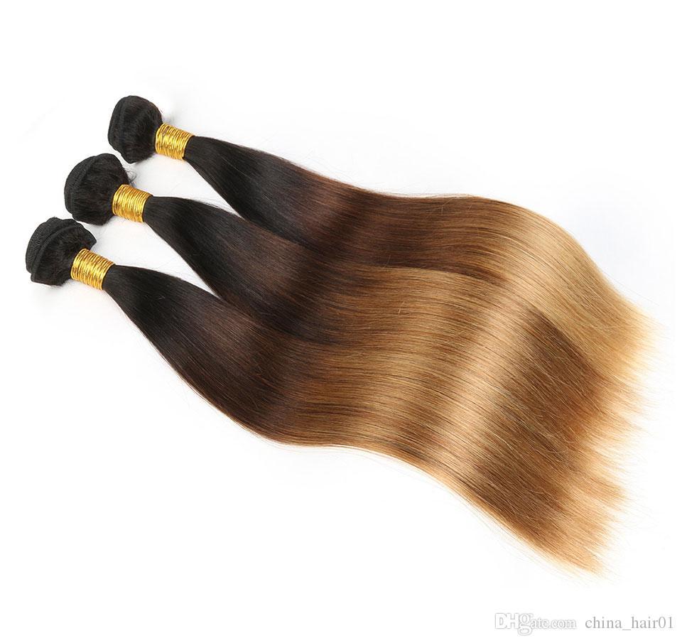 مستقيم # 1B / 4/27 العسل شقراء أومبير بيرو عذراء الشعر مع كامل الرباط أمامي إغلاق 13x4 ثلاثة لهجة الملونة نسج الشعر البشري حزم