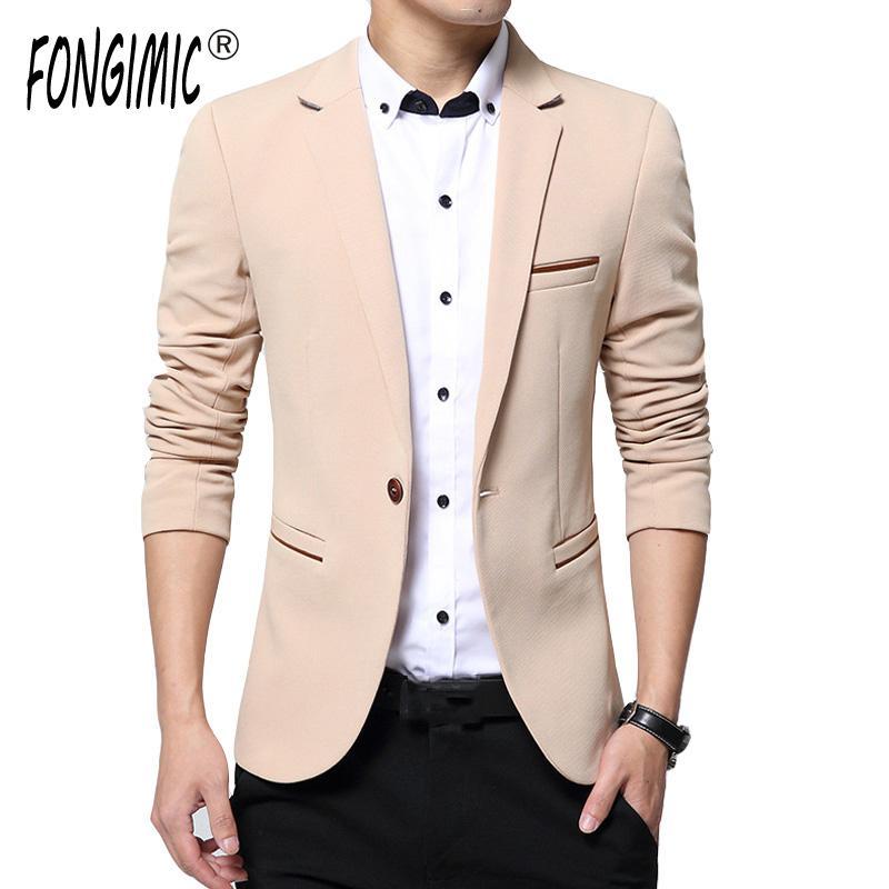 Compre Al Por Mayor FONGIMIC Primavera Otoño Moda Para Hombre Blazer Hombres  Modelos Casuales Chaqueta De Traje De Alta Calidad Para Hombres Solo Botón  ... f1cf9fe721b