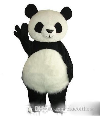 2018 Long Hair Panda Bear Mascot Costume Adult Mascot Men's for Party and Valentine's Day Thanksgiving Day Christmas Halloween and New Years