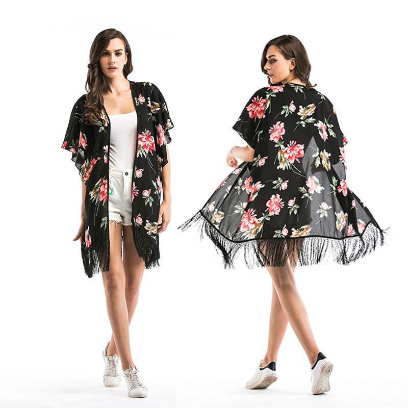 Compre Moda Camisa De Gasa Floral Chal Borla Patrón De Flores Chal ...