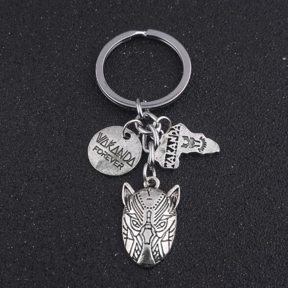 Hot Black Panther Keychain Wakanda Vk Kings Forever Letter Map Of