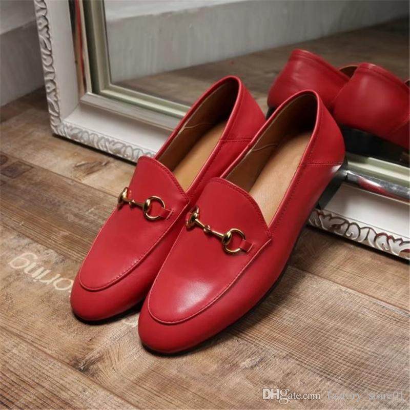 Best Selling 2017 Women Genuine Leather Fashion Loafers Luxury Brand Mules Shoes High Quality Moccasins Shoes Horsebit Flat red Shoes F01
