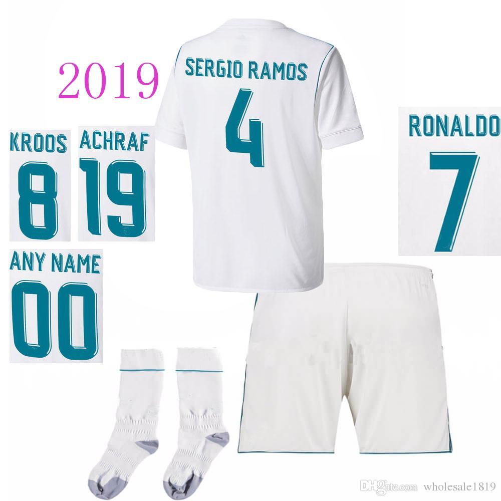 huge discount e3b42 cb58f 2018 2019 Real Madrid Home Kids Soccer Jerseys kits Socks RONALDO SERGIO  RAMOS JAMES BALE RAMOS ISCO MODRIC Benzema Football Shirts player