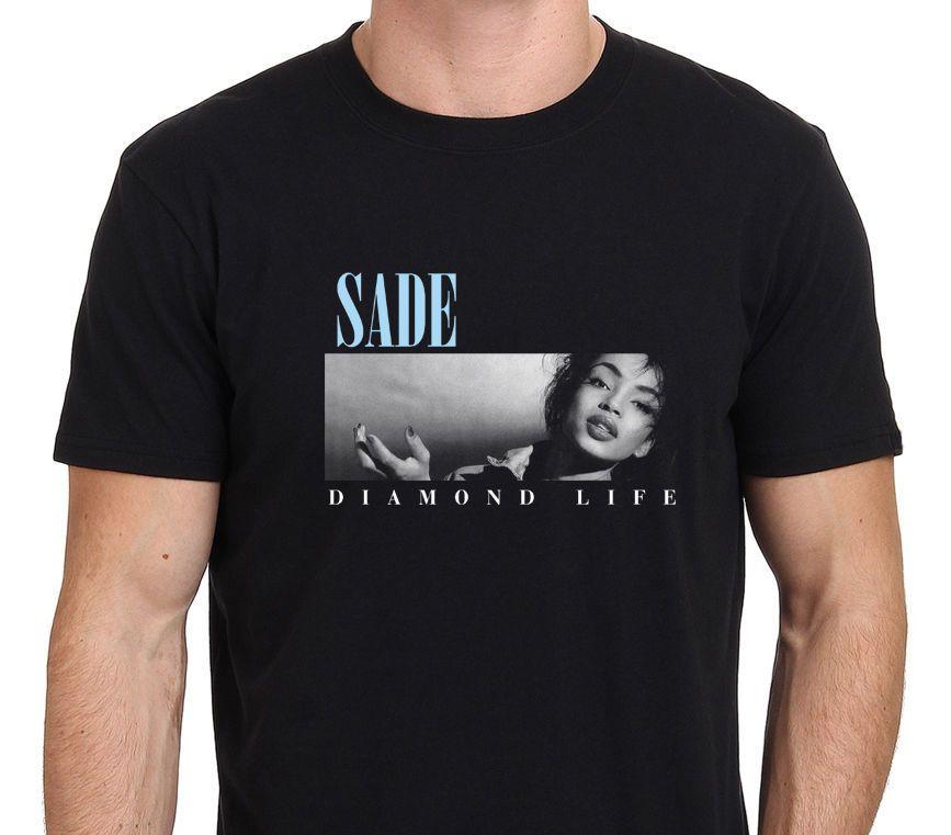 aa7d6da9ff4 SADE Diamond Life Men s Black T-shirt Size: S-to-XXL Men T Shirt Cheap Sale  100 % Cotton O-Neck Tee Shirt