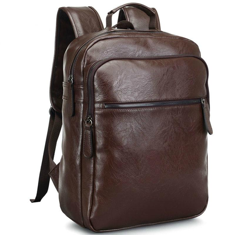 994554dd286a6 2017 Men Leather Backpack High Quality Youth Travel Rucksack School Book  Bag Male Laptop Business Bagpack Shoulder Bag Mens Backpacks Swiss Army  Backpack ...