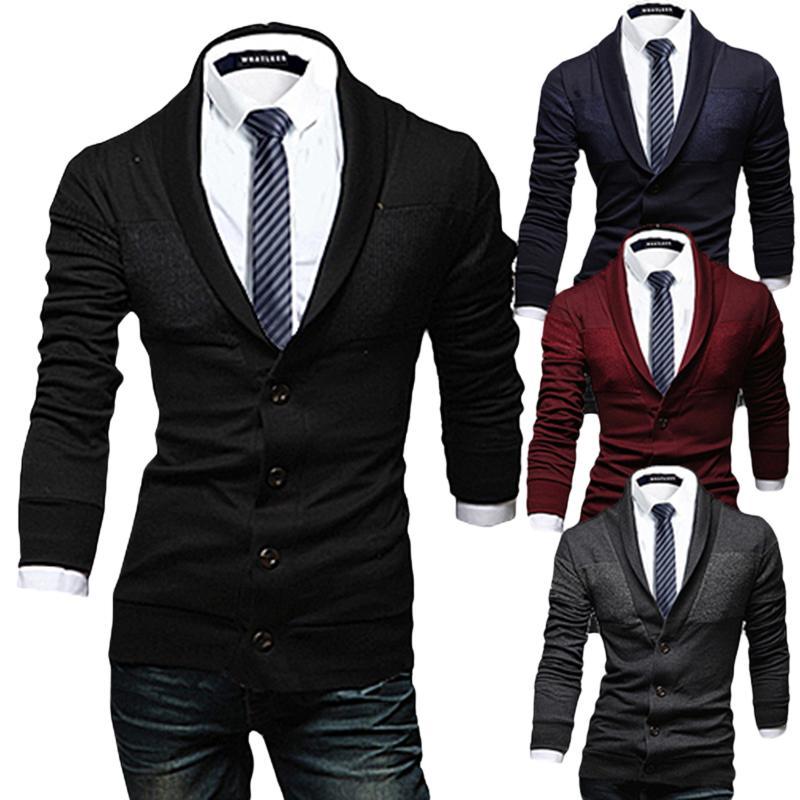 Revers hommes cardigan mince épissage tricot pull hommes de haute qualité cardigan en maille simple boutonnage