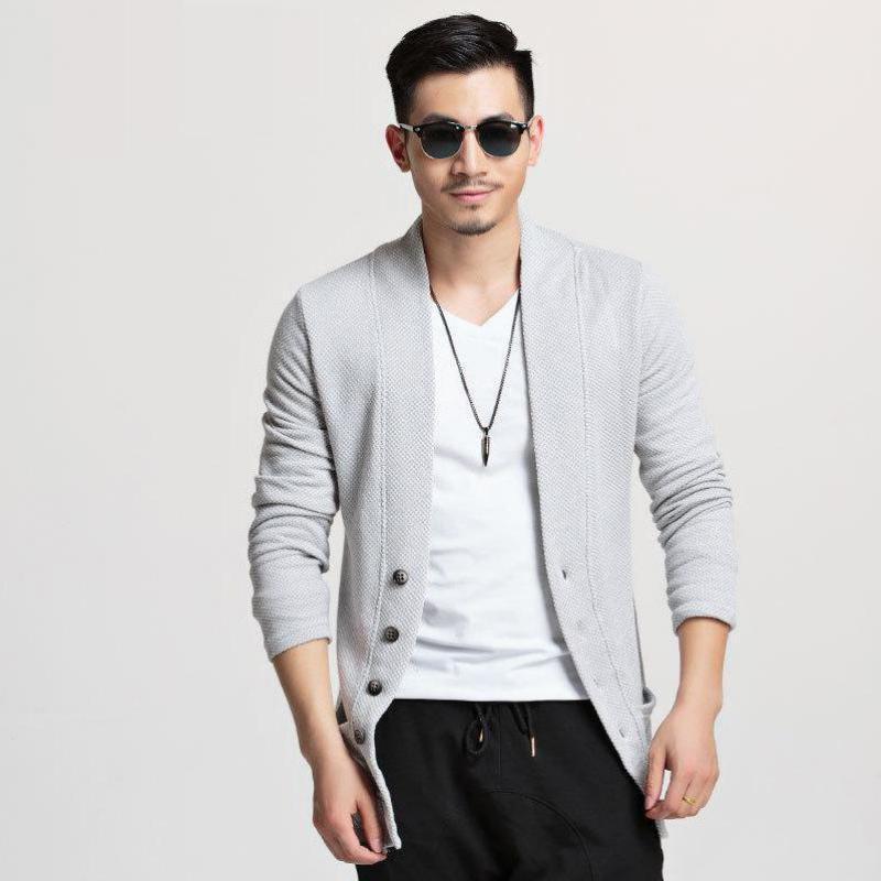 PUNKOOL Cardigan Hommes Pull 2017 Marque Vêtements Nouveau Col En V Slim Fitness Tricoté Cardigan Pull Outwear Mens Cardigan Châle
