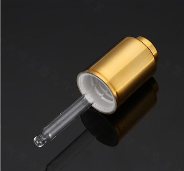 20 30 50 ml di Vetro Trasparente Bottiglia Dispenser di olio essenziale con Oro Argento Alluminio Presse pompa contagocce di vetro Tubo di Vetro Contagocce Bottiglie