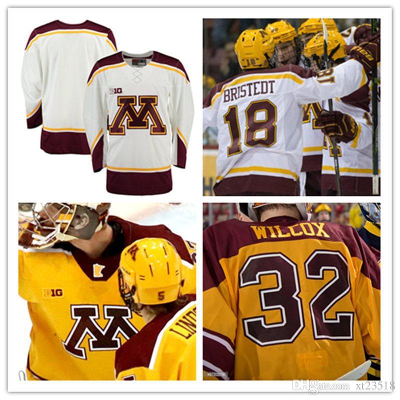 294683076bf Großhandel Mens NCAA Große Zehn Minnesota Goldene Gophers College Hockey  Jerseys Nähte Weißes Kundengebundenes Minnesota Goldenes Gophers  Persönliches ...