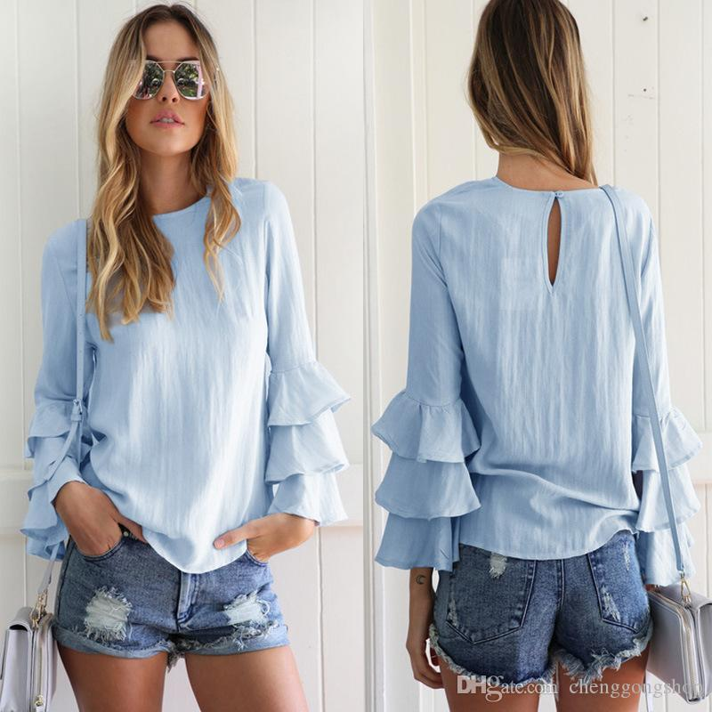 69c94f64b13 2019 Fashion Women Round Collar Ruffled Sleeves Light Blue Shirt Bottoming  Shirt Top S M L XL From Chenggongshop