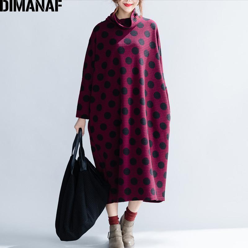 944d0c566 Compre DIMANAF Mulheres Vestidos De Inverno Longos Plus Size Senhora  Elegante Vestidos De Algodão Engrossar Dot Feminino Batwing Vestido De Gola  Alta 2018 ...