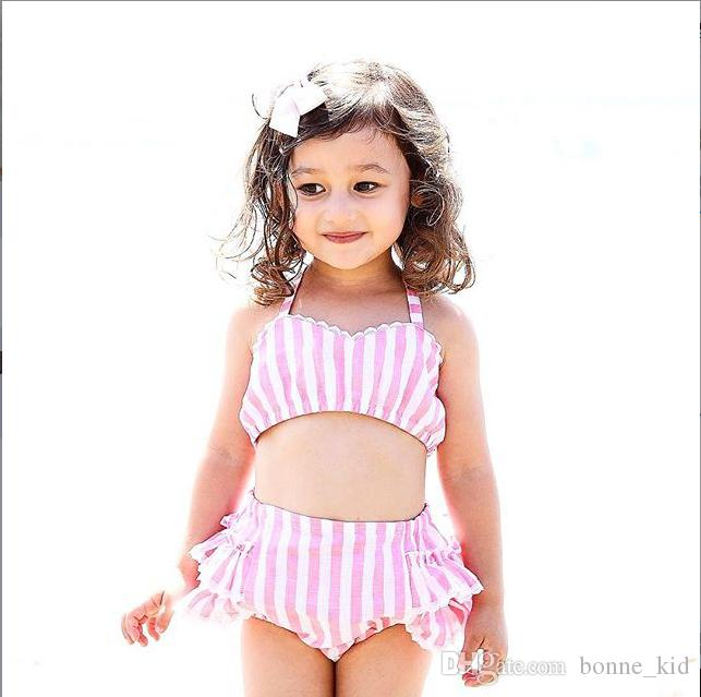 9695df46ffd4b 2019 Summer Baby Girls Two Piece Striped Pink Swimwear Kids Swimsuits Lace  Ruffles Bikini Bandage Swimsuit Bathing Suit Beach Wear From Bonne kid