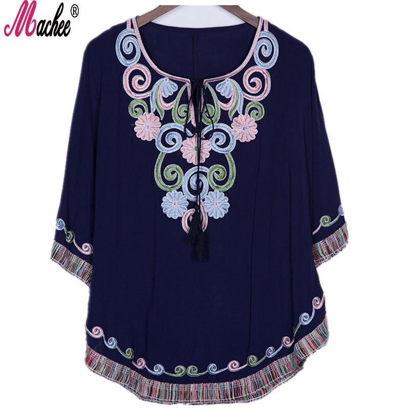 decb86ba465b76 2019 2018 New Summer Vintage Female Ethnic Mexican Floral Loose Shirt Tops  Hippie Boho Cotton Long Woman Embroidery Blouse Dress From Richardgu10