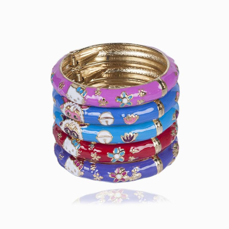 09ab8cb45 Fashion Sheep Flower Hello Kitty Bangle Cuff Open Bracelet Manchette For  Kids Children Little Girl Gold Summer Cloisonne Jewelry Silver Earrings  From ...
