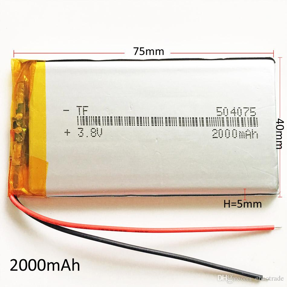 Model 504075 3.7V 2000mAh Lipo Rechargeable Battery Polymer Lithium high capacity cells For DVD PAD GPS power bank Camera E-books Recorder