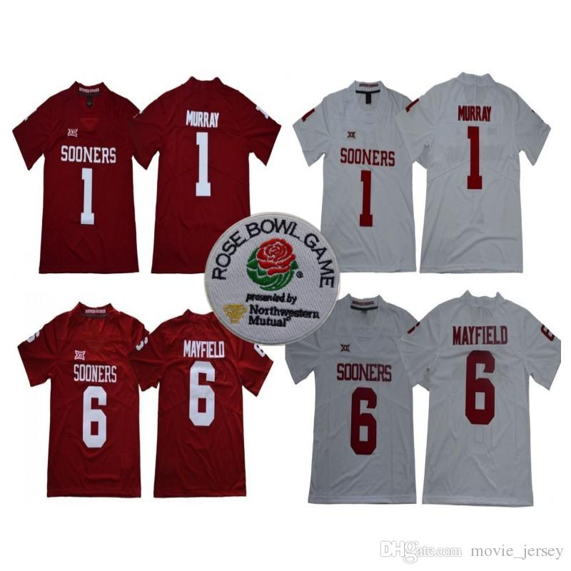 NCAA Oklahoma Sooners  1 Kyler Murray  6 Baker Mayfield 2018 New Brand Rose  Bowl Patch Limited Stitched College Football Jerseys UK 2019 From  Movie jersey a70b1f623