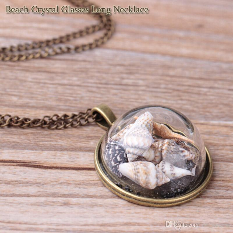 2018 FANHUA Bohemian Jewelry Bronze Long Chain Shell Sea Stars Decoration Round Pendant Necklace Fashion Accessories Free DHL